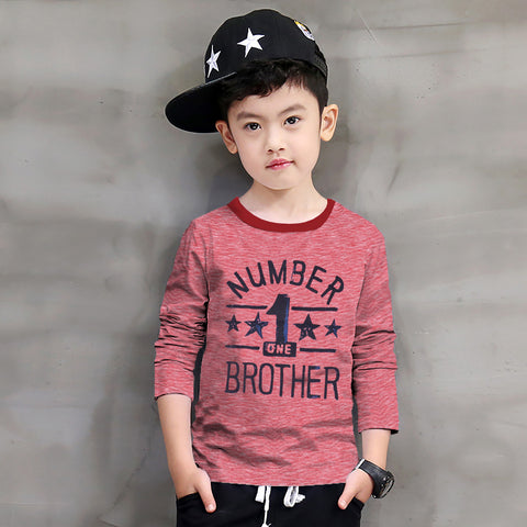 Next Crew Neck Full Sleeve T Shirt For Kid-Red Melange-BE2292