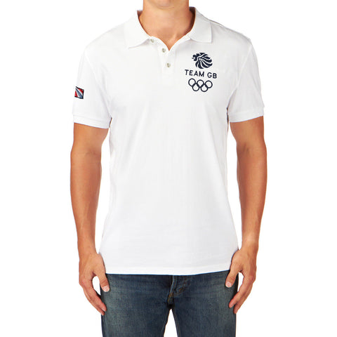 "Men's Cut Label ""Team GB"" Polo Shirt-White-BE169"