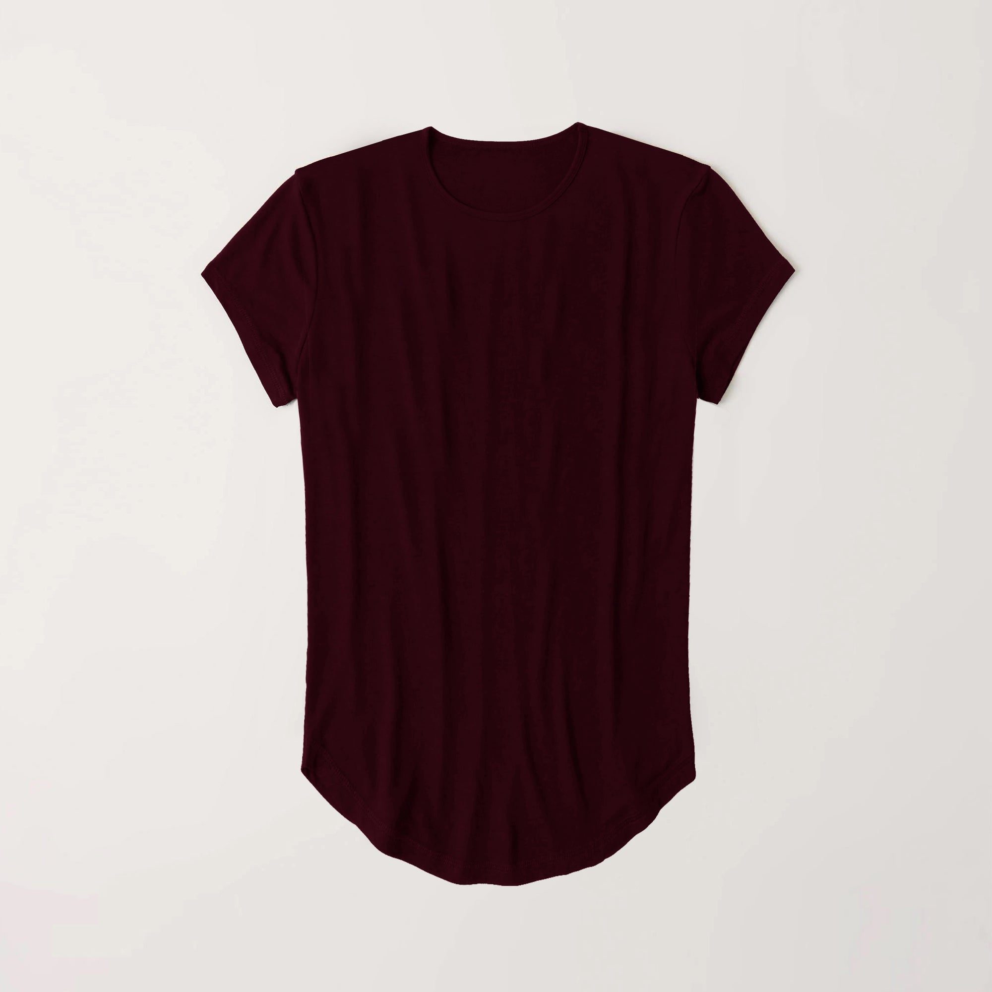 Popular Crew Neck Viscous Tee Shirt For Girls-Dark Maroon-NA11010