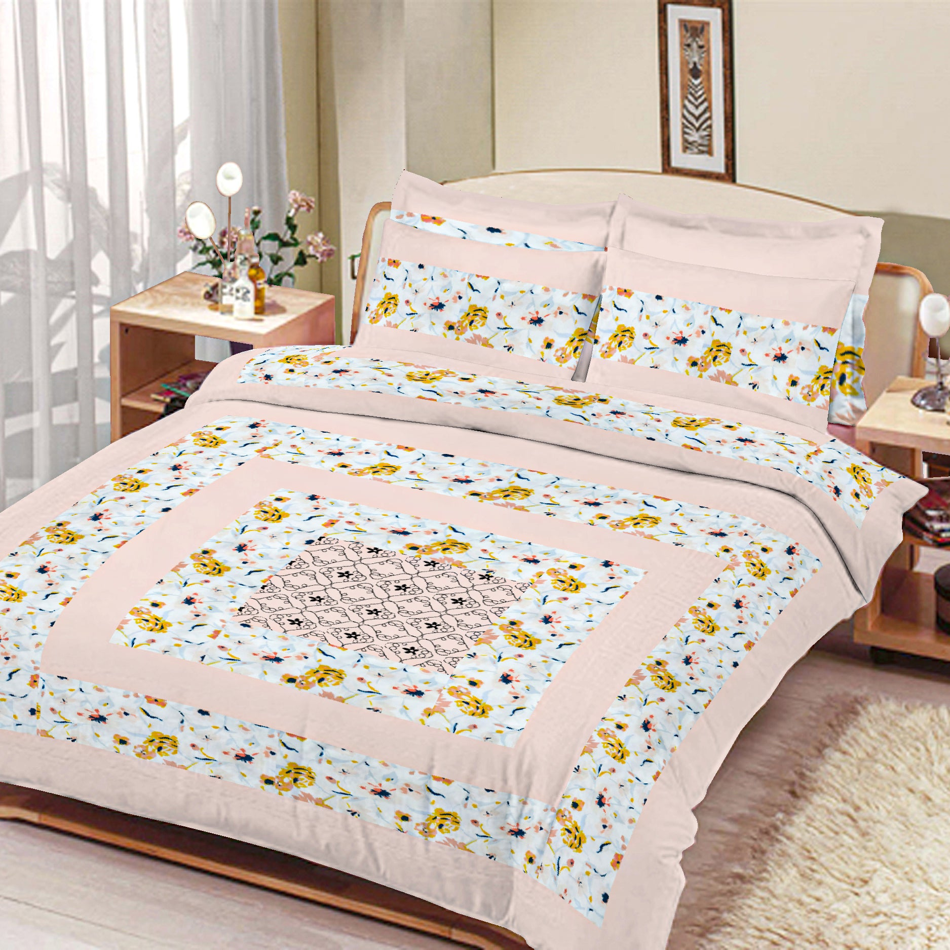 Premium Quality Cotton Sutton Double Bed Sheet & Pillow Set-NA11307