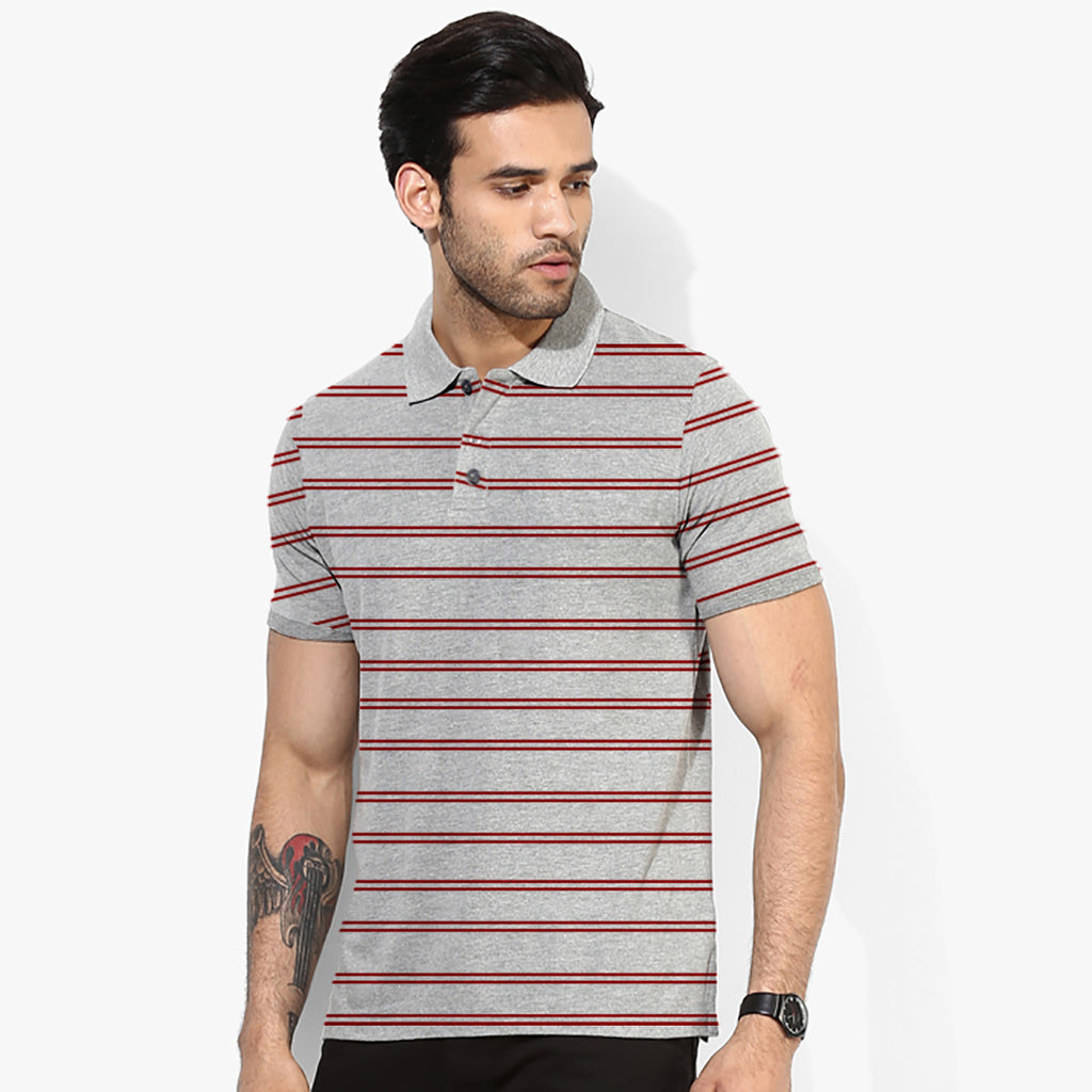 Men's Pull & Bear Gray & Burgandi Stylish Polo -PB30