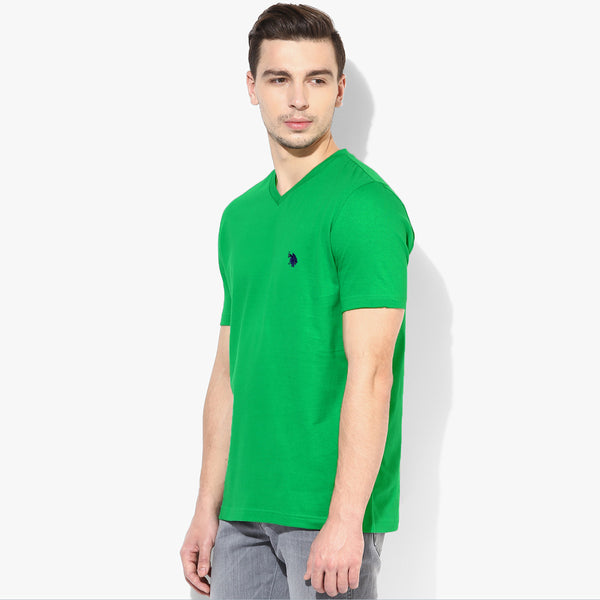 "Men's ""U.S Polo With Embroidery "" Short Sleeves Fashion V Neck  - Green (913)"