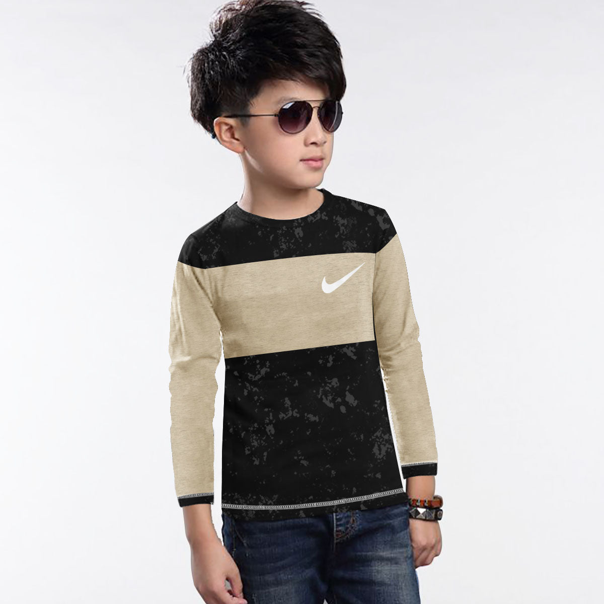 NK Crew Neck Single Jersey Long Sleeve Tee Shirt For Kids-Black Faded With Camel Melange Panel-SP3524