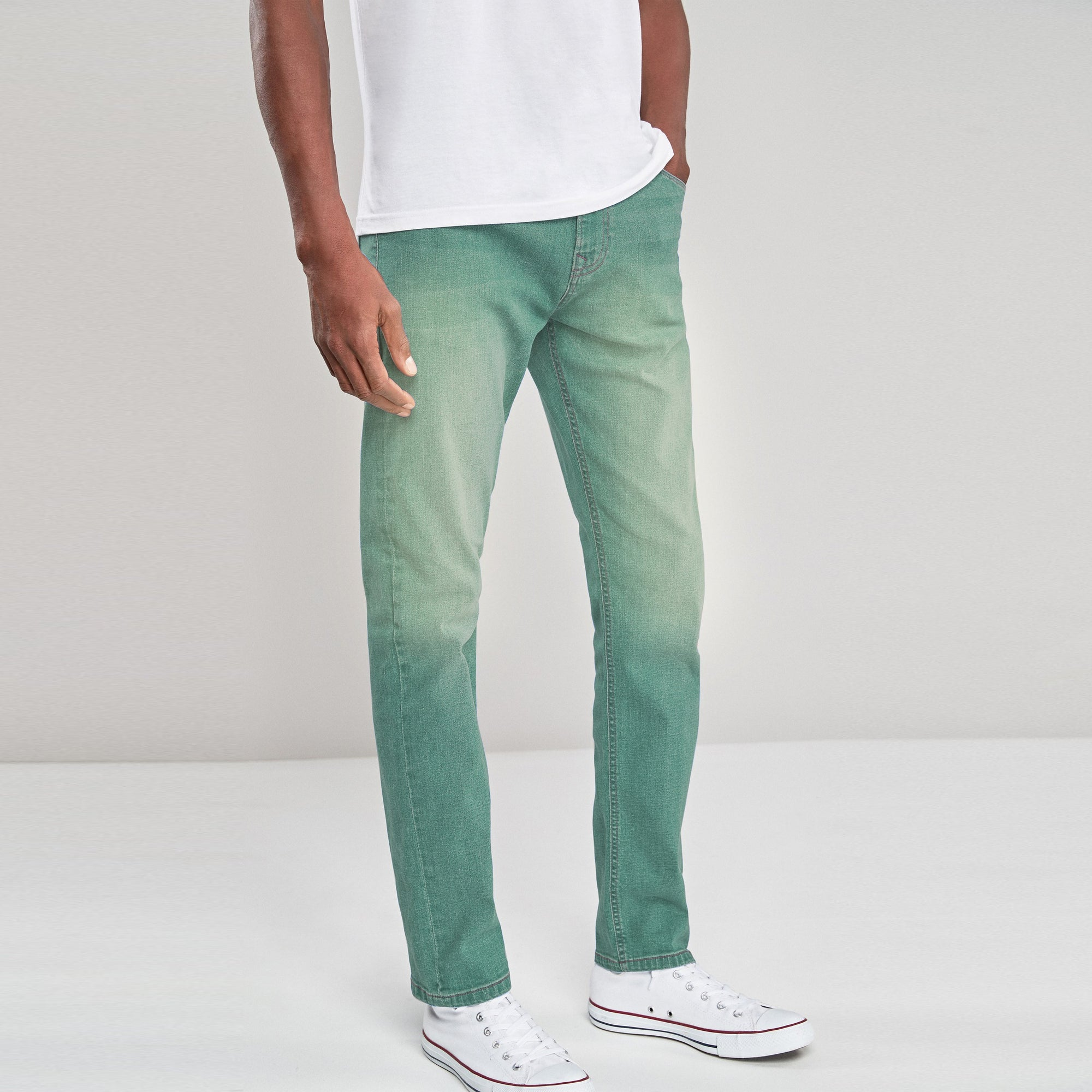 R. Society Slim Fit Stretch Denim For Men-Sea Green Faded-NA9718