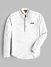 R2 Fitters Premium Slim Fit Ban & Kurti Style Shirt For Men-White-RCS128