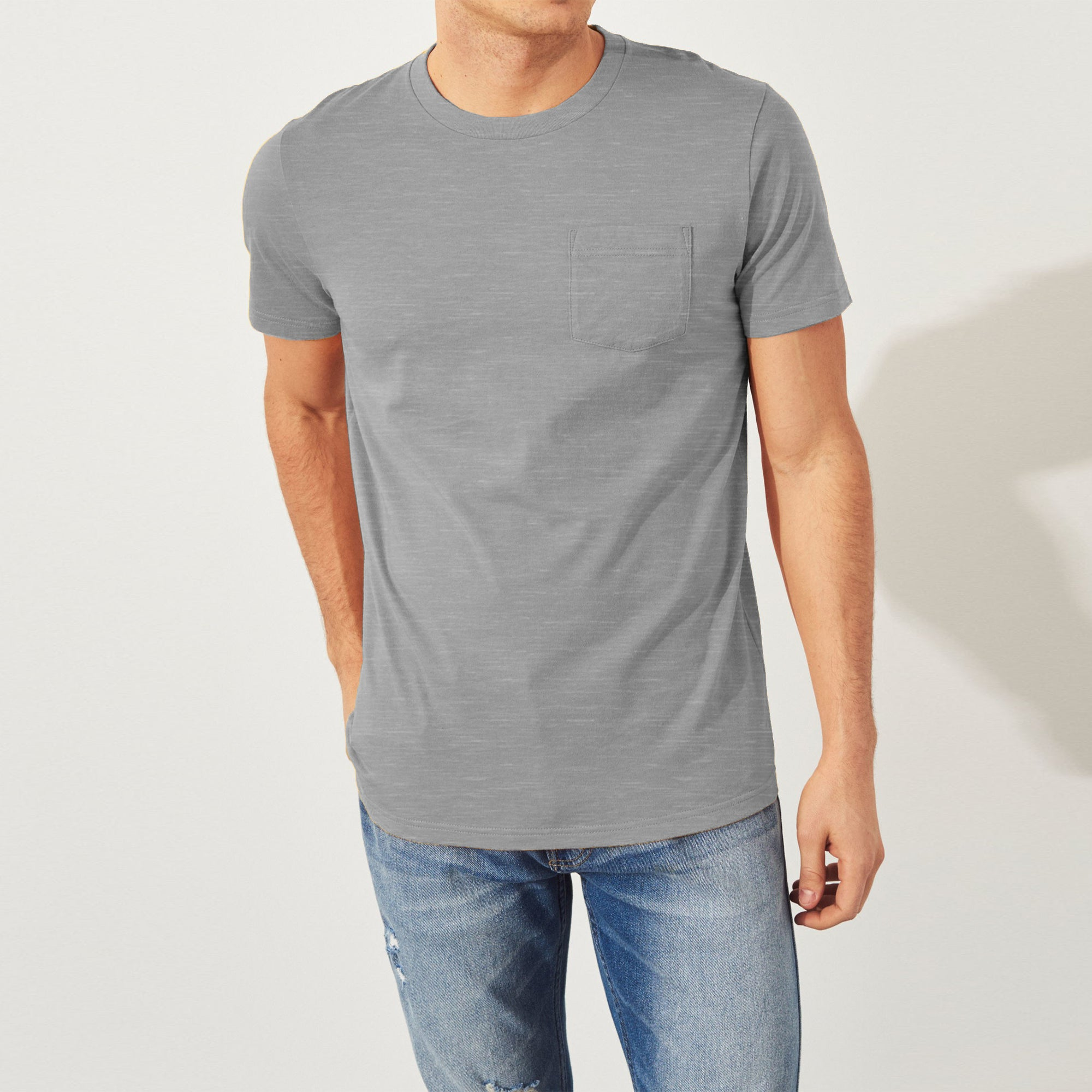 River Island Crew Neck Single Jersey Tee Shirt For Men-Slate Grey-NA8622