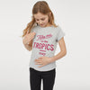 brandsego - Roxy Crew Neck Single Jersey T Shirt For Girls-Grey-NA8640