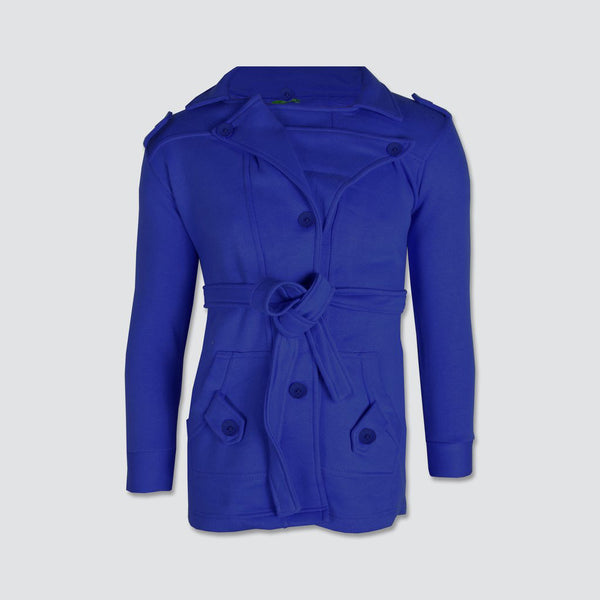 "Ladie's ""Like an Angel"" Stylish Trench Coat Royal Blue-LTC04"