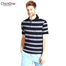 ChenOne Polo Shirt For Men-Black & Sky Blue Stripe-BE2459