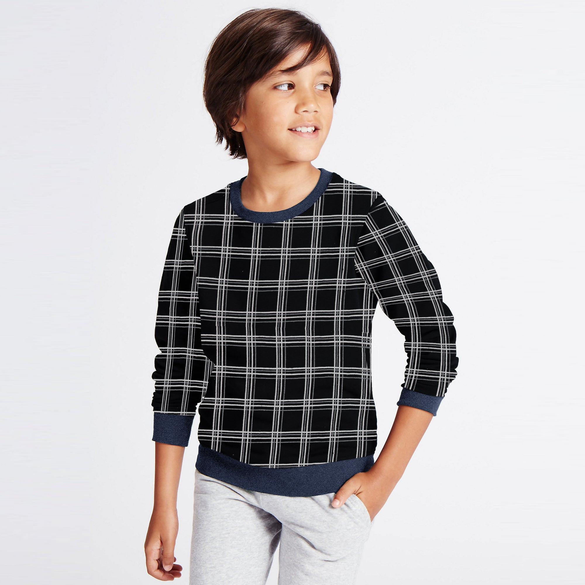Tommy Hilfiger Fleece Crew Neck Sweatshirt For Kids-Allover Print-SP1369