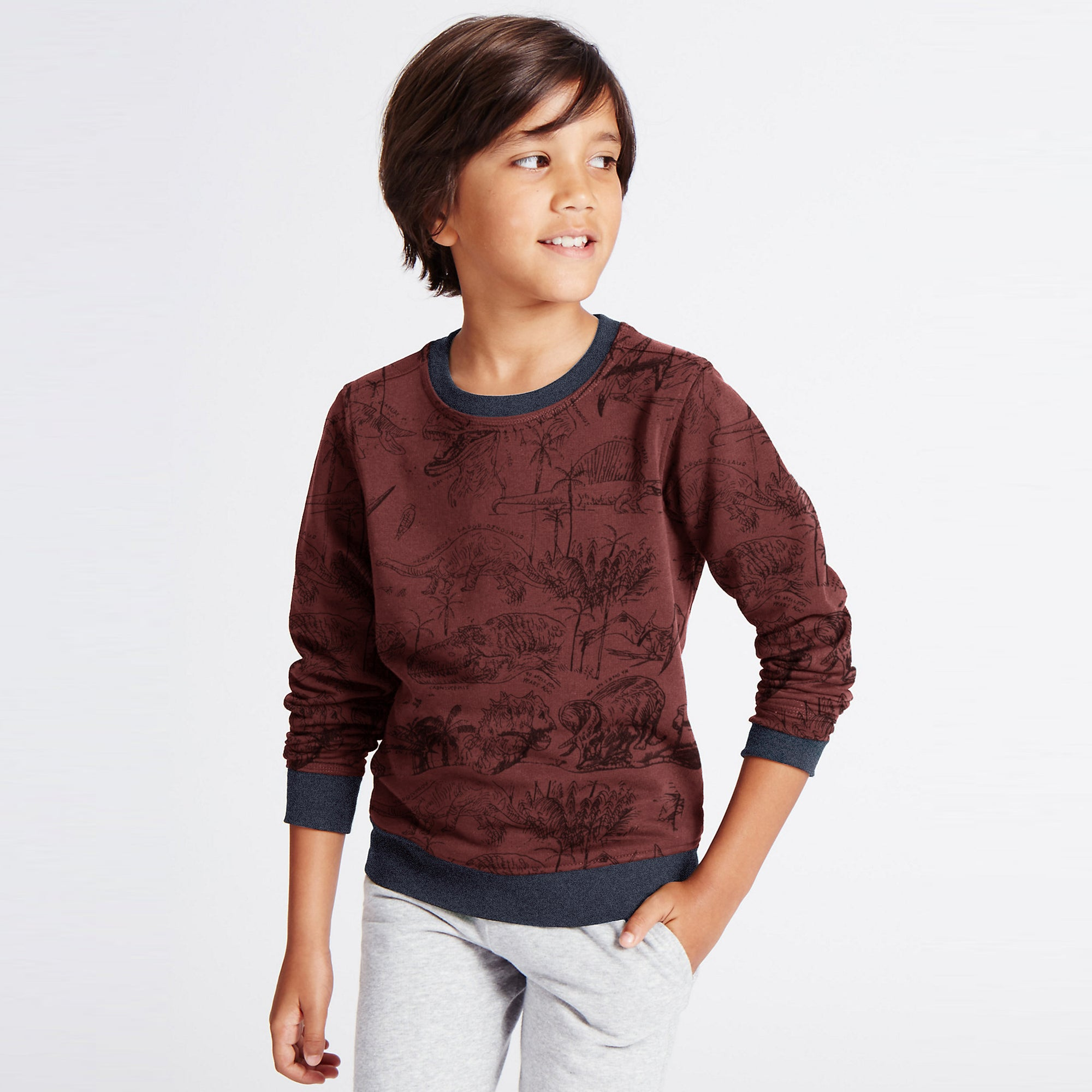 Tommy Hilfiger Fleece Crew Neck Sweatshirt For Kids-Light Maroon With Allover Print-SP1376