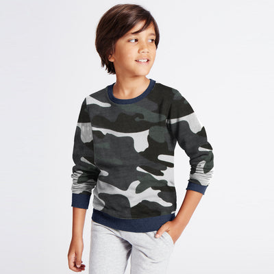 Tommy Hilfiger Terry Fleece Crew Neck Sweatshirt For Kids-Camouflage-SP1385