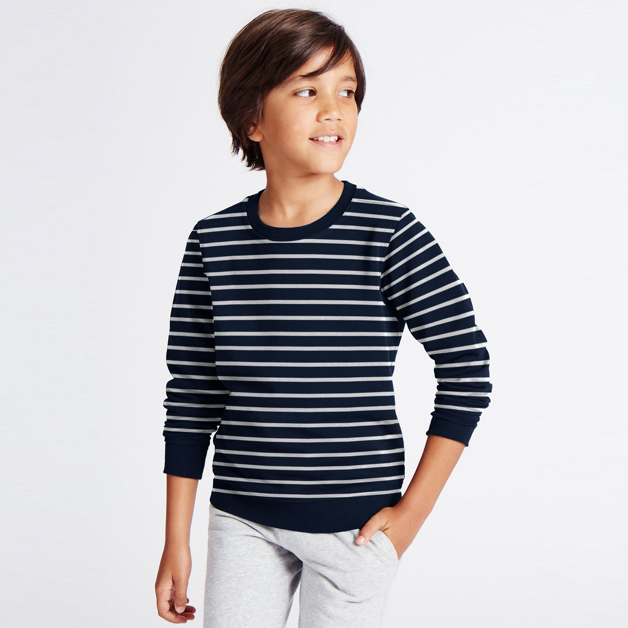 Tommy Hilfiger Terry Fleece Crew Neck Sweatshirt For Kids-Dark Navy With Stripes-SP811