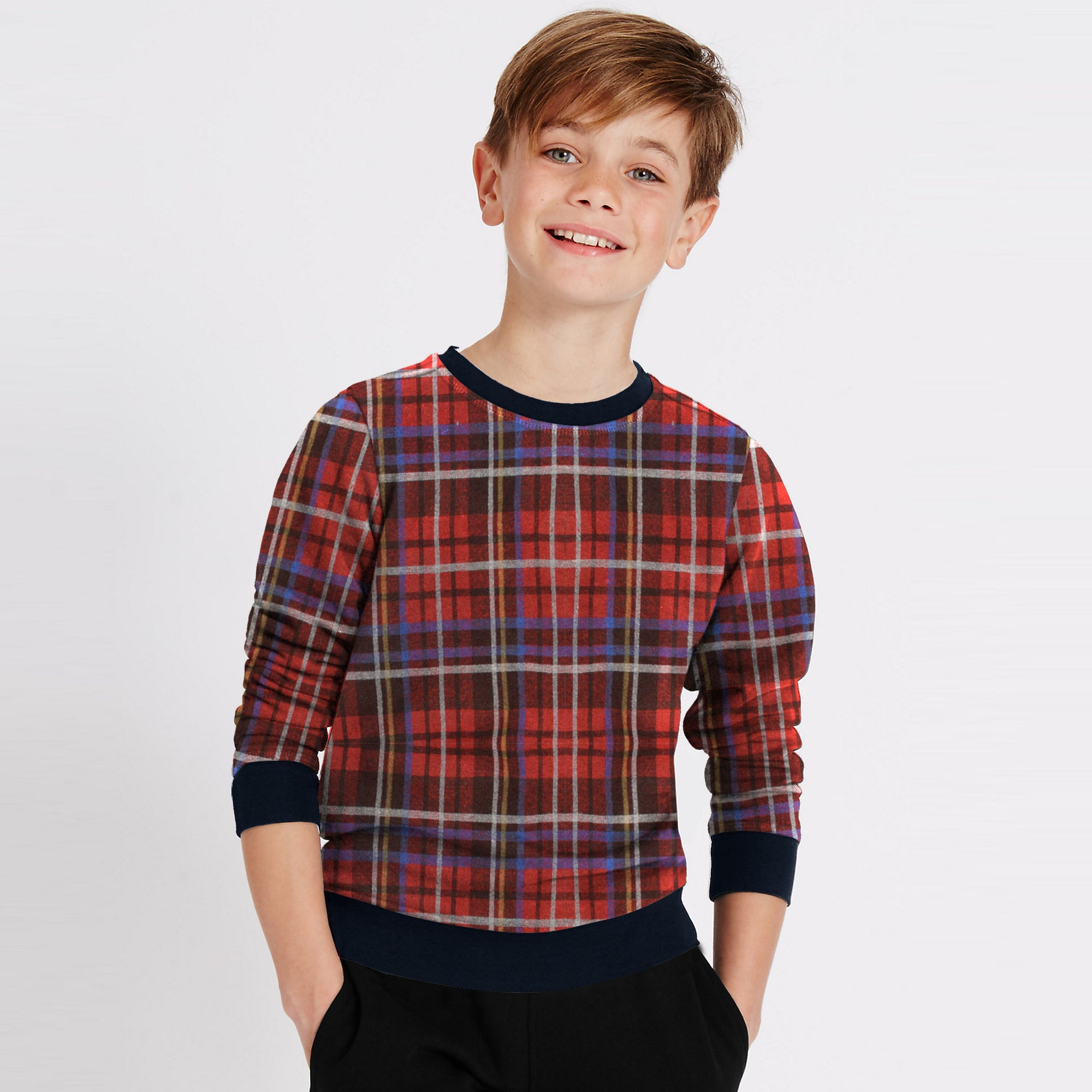 Tommy Hilfiger Fleece Crew Neck Sweatshirt For Kids-Allover Print-SP1378
