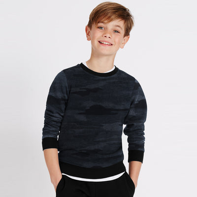 Tommy Hilfiger Terry Fleece Crew Neck Sweatshirt For Kids-Allover Print-SP769