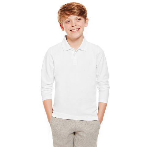 DMB Long Sleeve Polo Shirt for Kids-White-BE2265