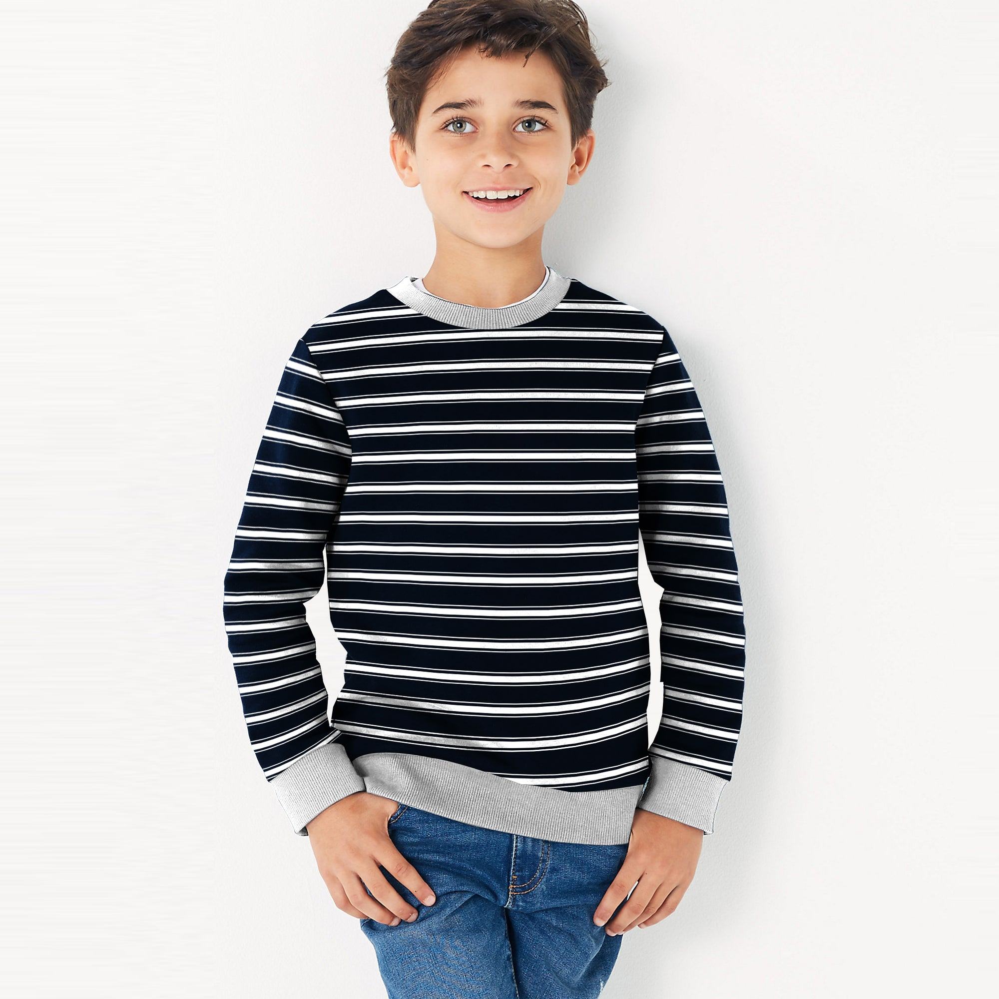 Tommy Hilfiger Terry Fleece Crew Neck Sweatshirt For Kids-Dark Navy With Stripes-SP820