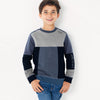 Next Fleece Stylish Patches Crew Neck Sweatshirt For Kids-Light & Dark Navy With Grey Melange-SP810