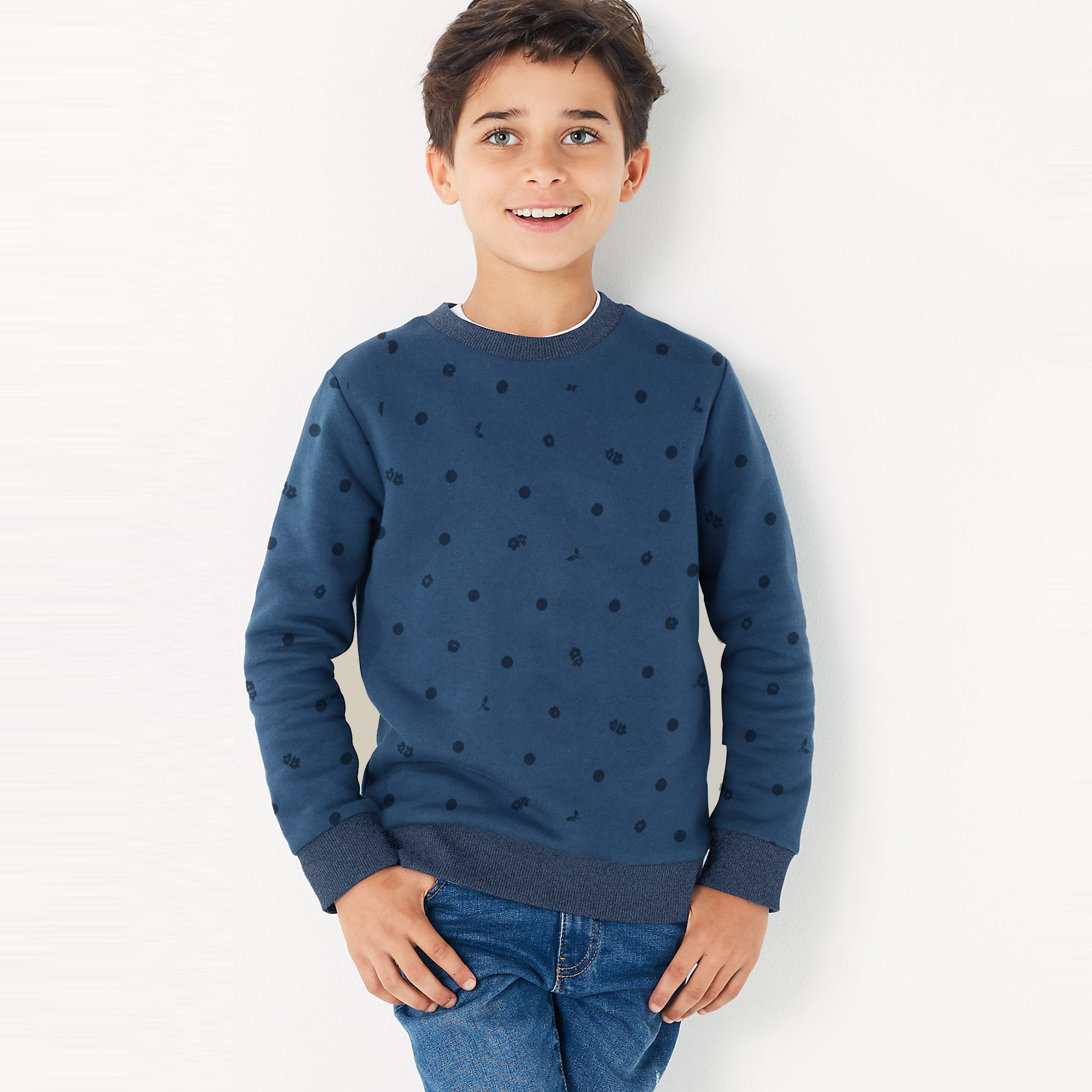 Tommy Hilfiger Terry Fleece Crew Neck Sweatshirt For Kids-Allover Print-SP1379
