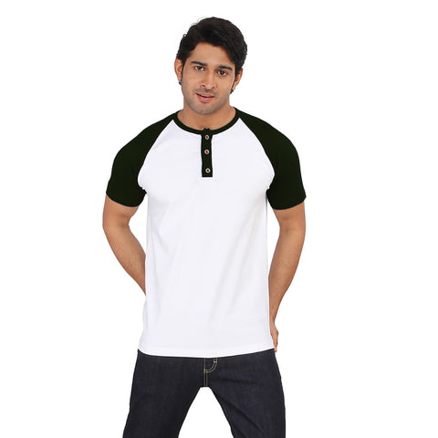 Fat Face Raglan Sleeve Crew Neck T Shirt For Men-Green & White-BE2085