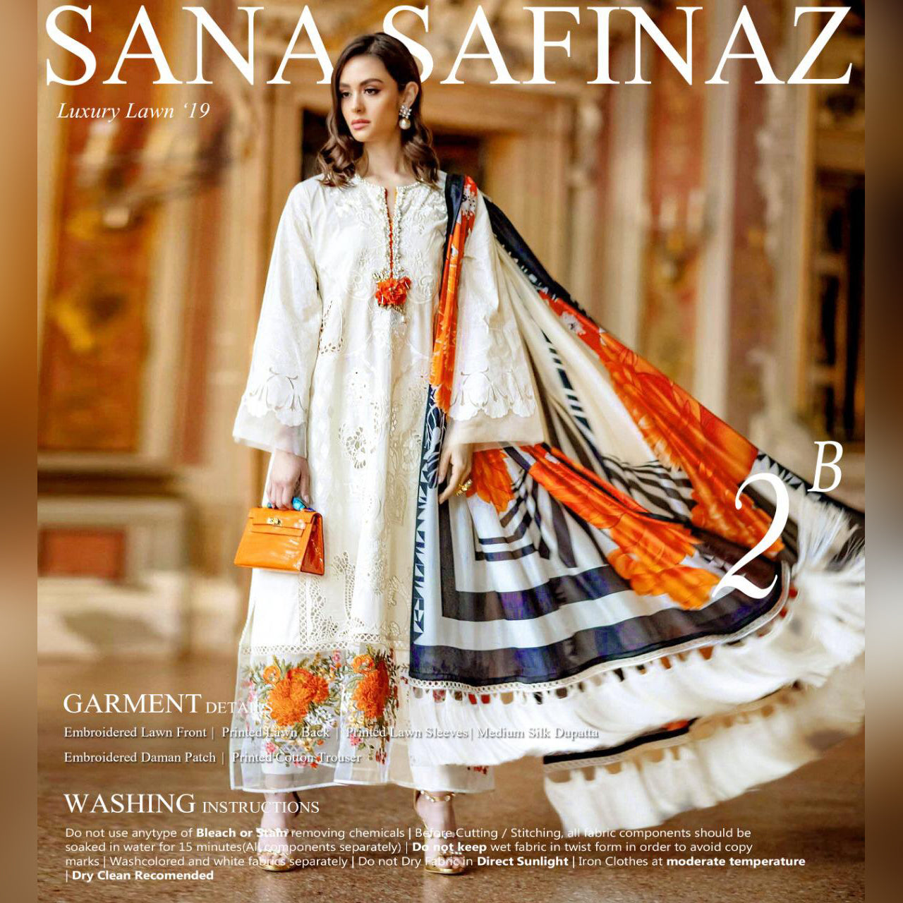 Sana Safinaz Lawn 3 Piece Un-stitch Suit For Ladies-NA8775