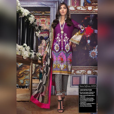 Sana Safinaz Lawn 3 Piece Un-stitch Suit For Ladies-NA8777