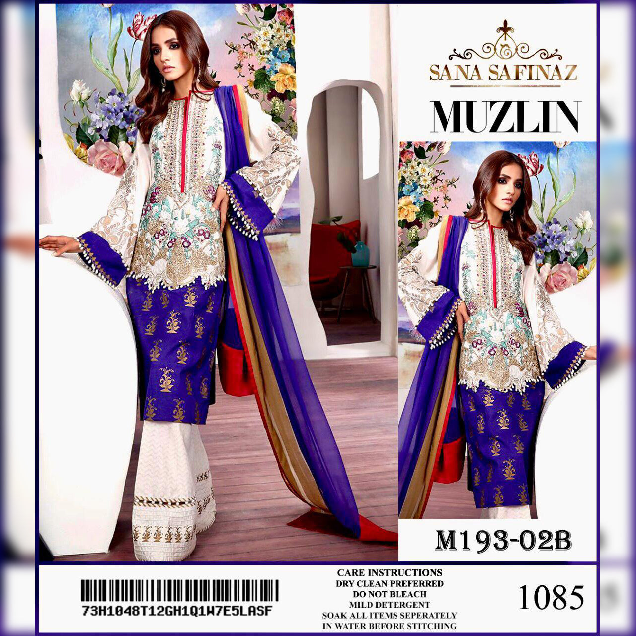 Sana Safinaz Lawn Collection 3 Piece Un-stitch Suit For Ladies-NA8913
