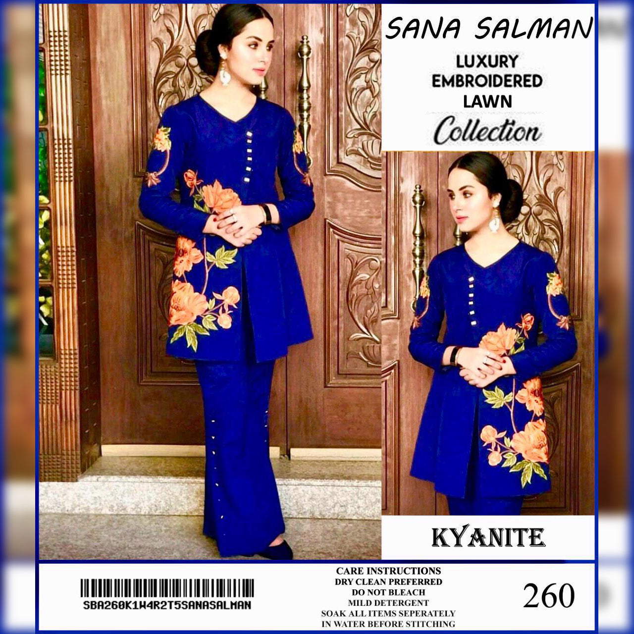 Sana Salman Lawn Collection 2 Piece Un-stitch Suit For Ladies-NA8909