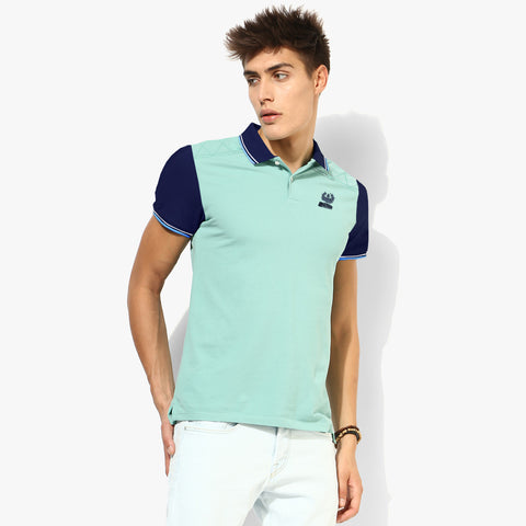 Fat Face Polo For Men Cut Label-Light Sea Green & Navy Sleeve-BE2324