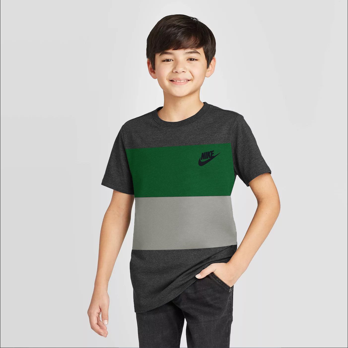 NK Crew Neck Single Jersey Short Sleeve Tee Shirt For Boys-Grey Melange with Green & Grey Panel-SP1969