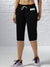 NK Fleece Printed Logo Capri For Ladies-Black-SP1695