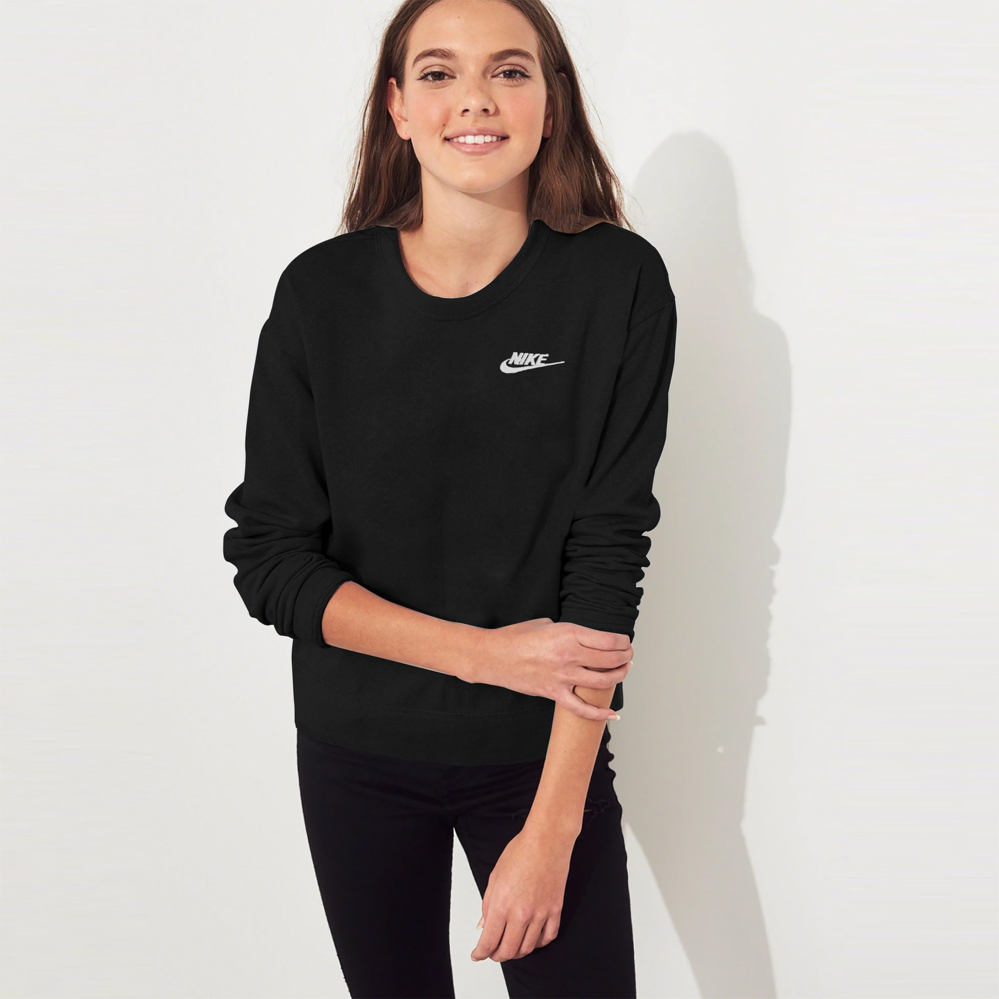 NK Terry Fleece Crew Neck Sweatshirt For Ladies-Black-SP1305