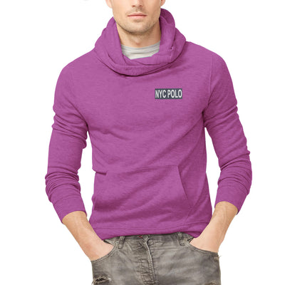 Nyc Polo Fleece Pullover Hoodie For Men-Pink Melange-SP1349