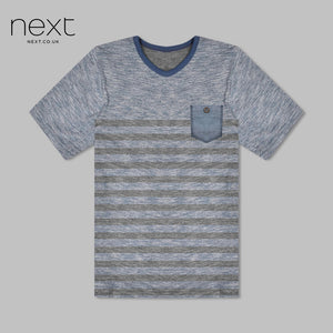 Next Half Sleeve Single Jersey T Shirt For Boys-Blue Melange With Pocket Style-NA5367