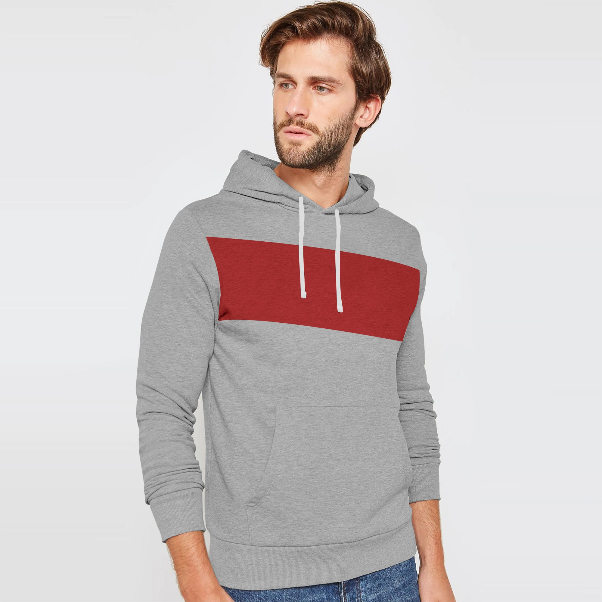 New Stylish Fleece Pullover Hoodie For Men-Grey Melange With Carrot Red Red Panel-SP1660