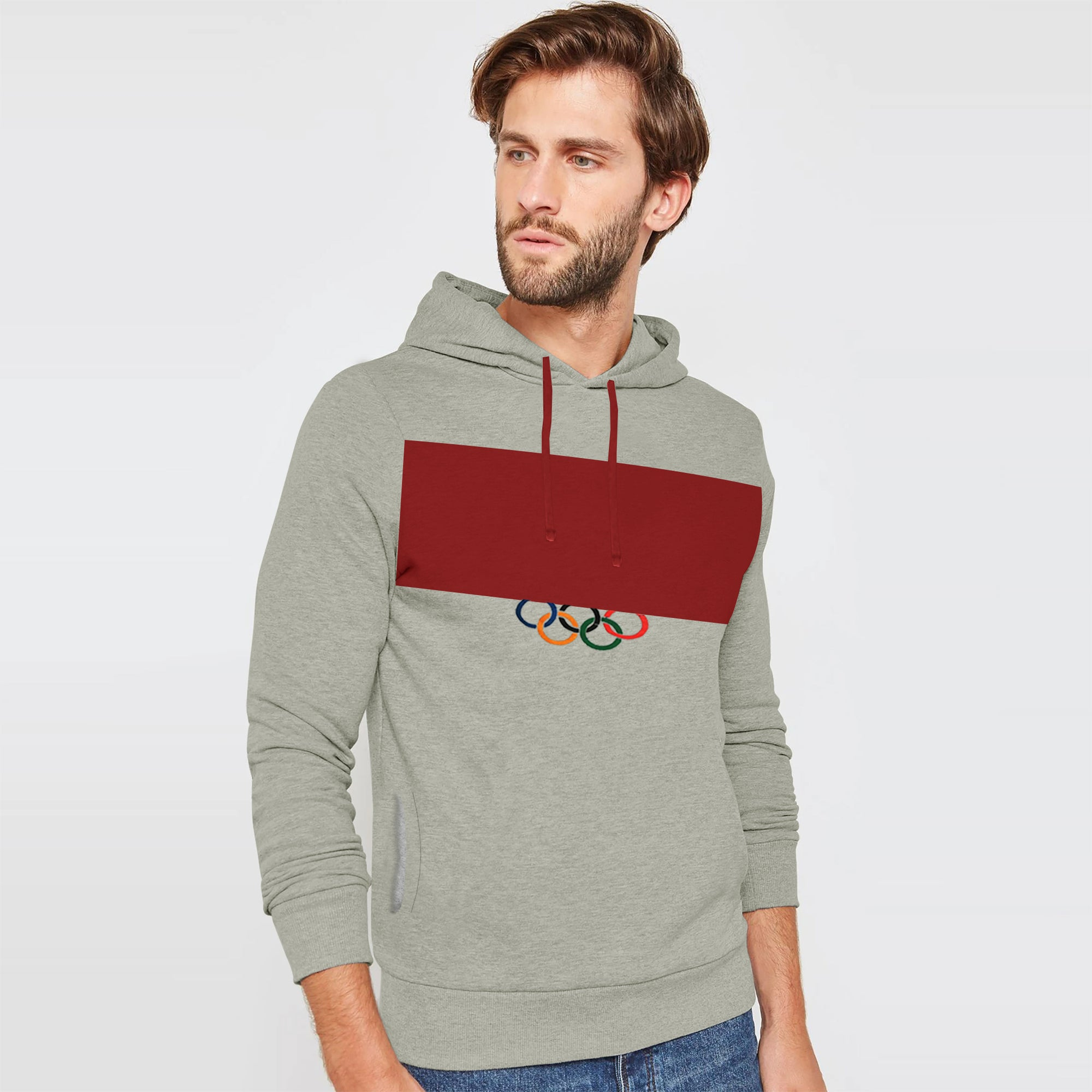 New Stylish Fleece Pullover Hoodie For Men-Grey Melange With Carrot Red Panel-SP1685