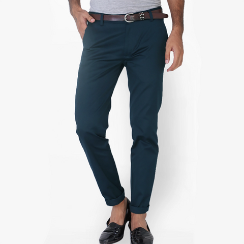 "Men's ""Zara Man"" Slim Fit Strech Cotton Denim-Dark Ferozi-ND31"