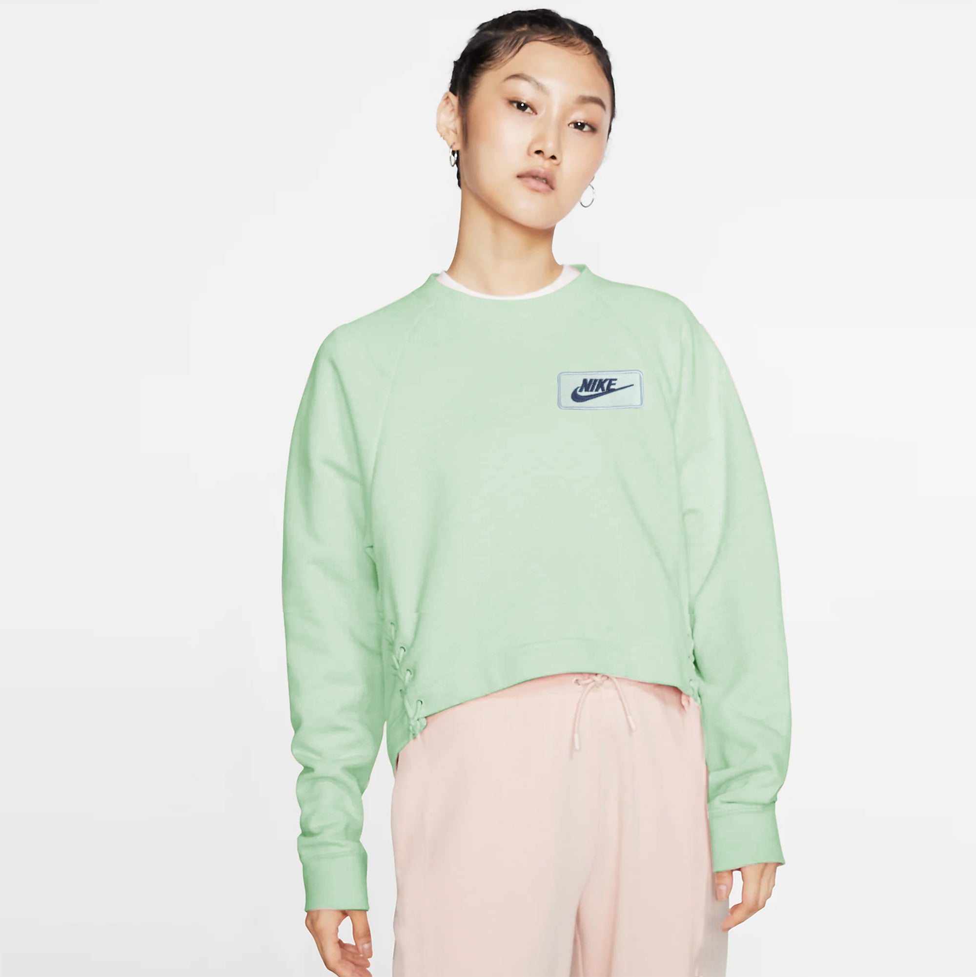 NK Terry Fleece Raglan Sleeve Crop Sweatshirt For Women-Light Cyan -SP1046