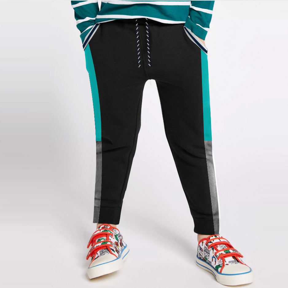 Next Slim Fit Jogger Trouser For Kids-Black with Cyan & Grey Melange Panels-SP2689