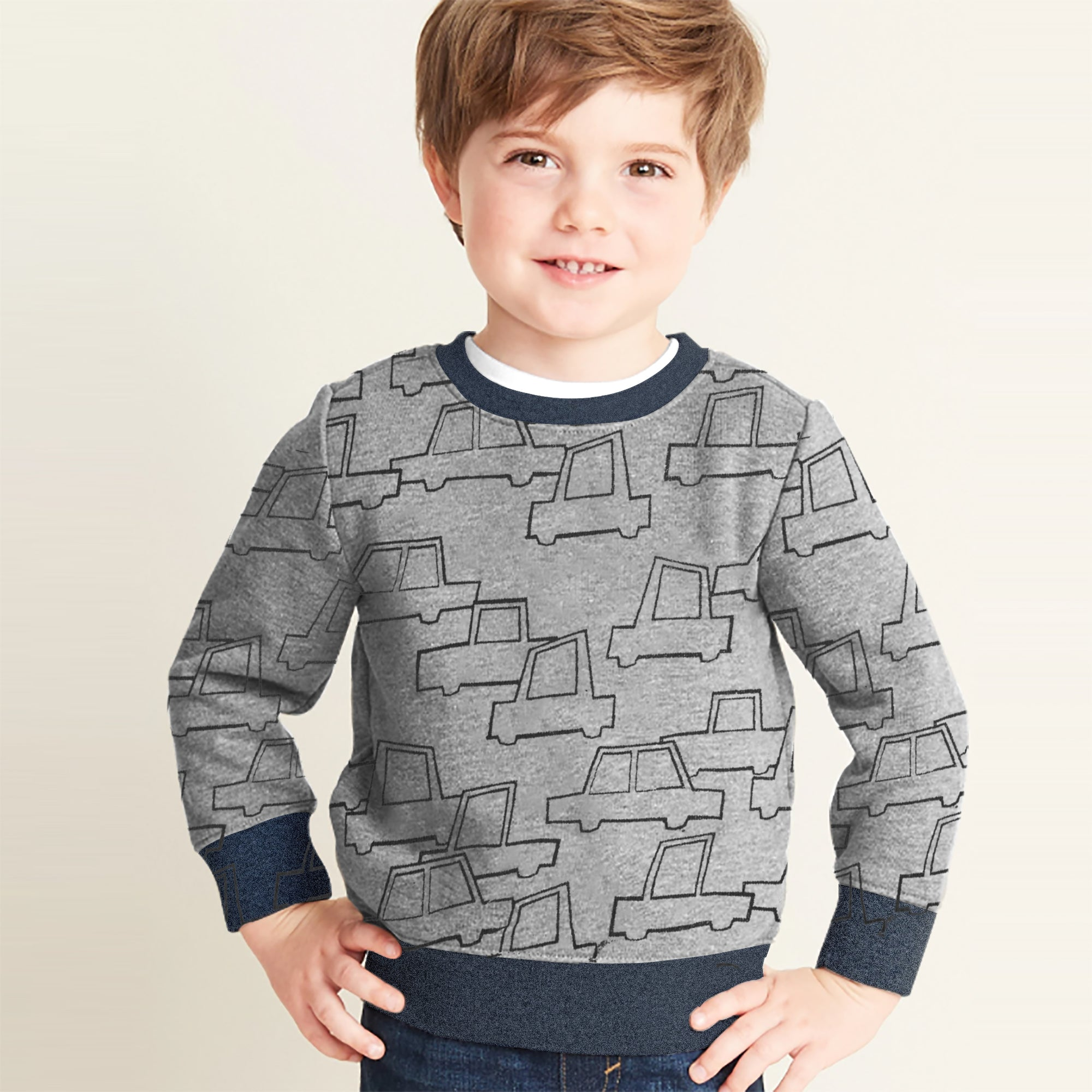 Tommy Hilfiger Terry Fleece Crew Neck Sweatshirt For Kids-Allover Print-SP1371