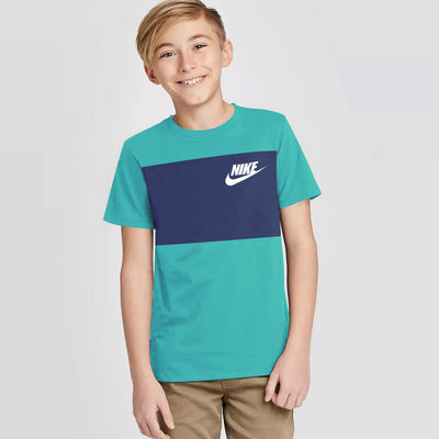 NK Crew Neck Single Jersey Short Sleeve Long Tee Shirt For Boys-Cyan Green with Navy Panels-BE11955