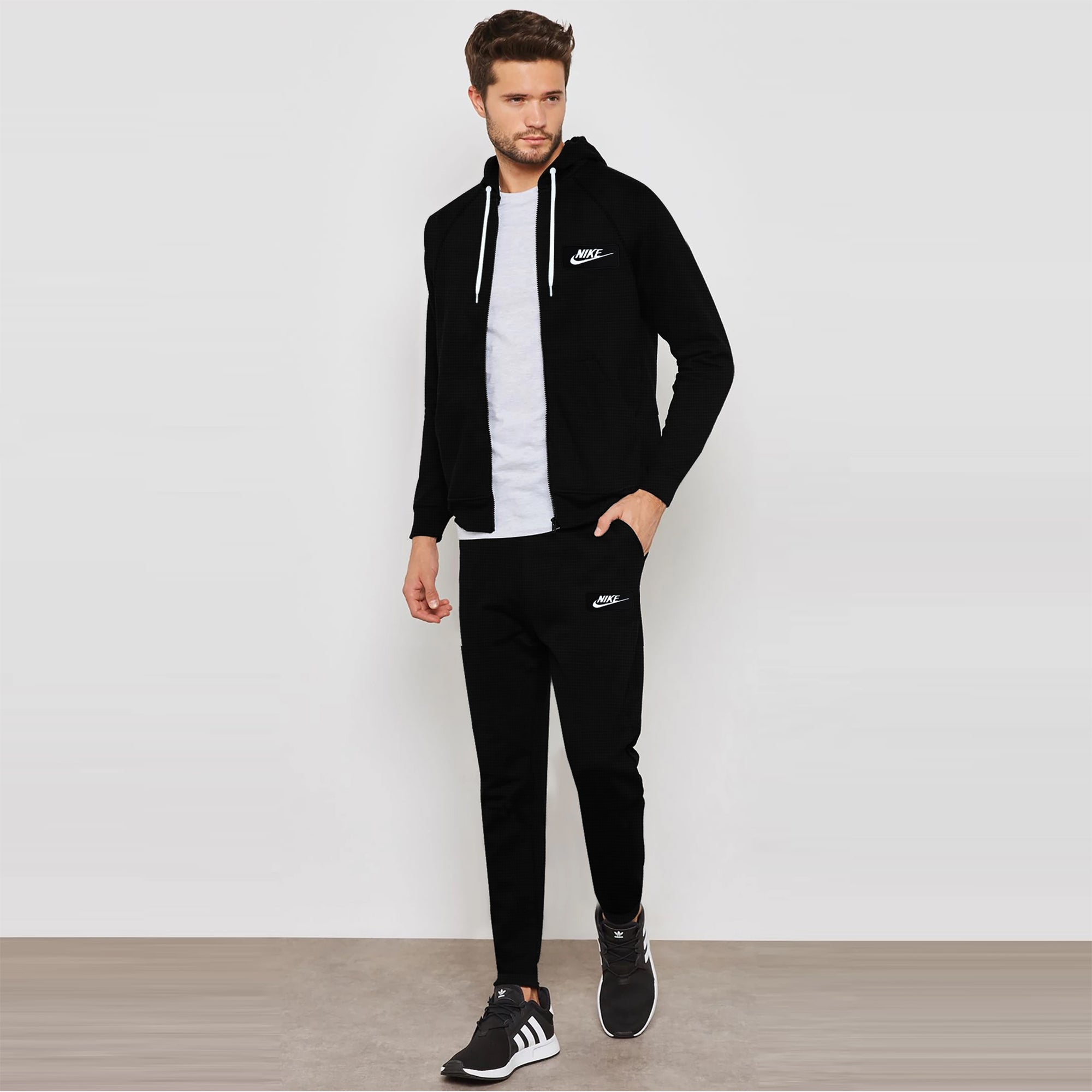 NK Slim Fit Raglan Sleeve Black & White Embroidery Thermal Zipper Track Suit For Men-Black Thermal-SP1052