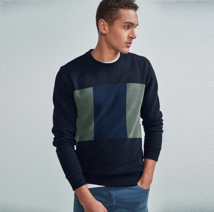 Next Terry Fleece Crew Neck Sweatshirt For Men-Navy & Multi Panel-SP1053