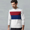 Next Fleece Crew Neck Sweatshirt For Men-Off White Melange with Multi Panel-SP1058