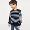 Tommy Hilfiger Terry Fleece Crew Neck Sweatshirt For Kids-Light Navy With Stripes-SP807