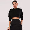 NK Terry Fleece Crop Sweatshirt For Women-Black Melange-SP1147