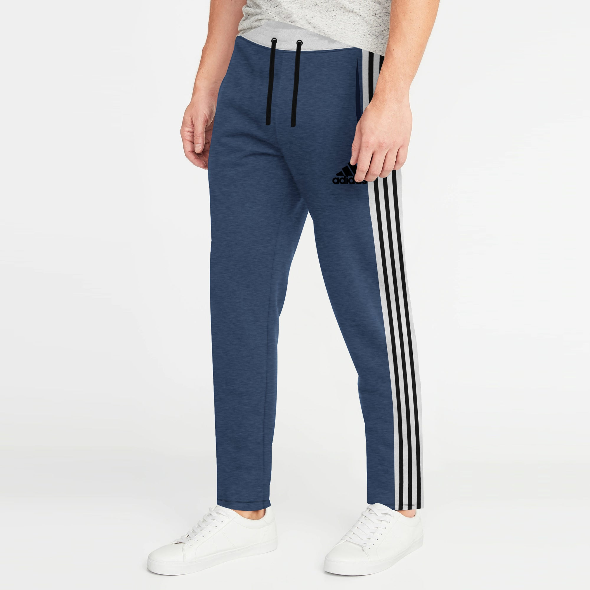 Adidas Single Jersey Regular Fit Jogger Trouser For Men-Navy Melange With Grey & Black Stripe-BE8792