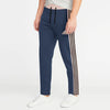 Adidas Single Jersey Regular Fit Jogger Trouser For Men-Navy Melange With Light Pink & Black Stripe-BE8793