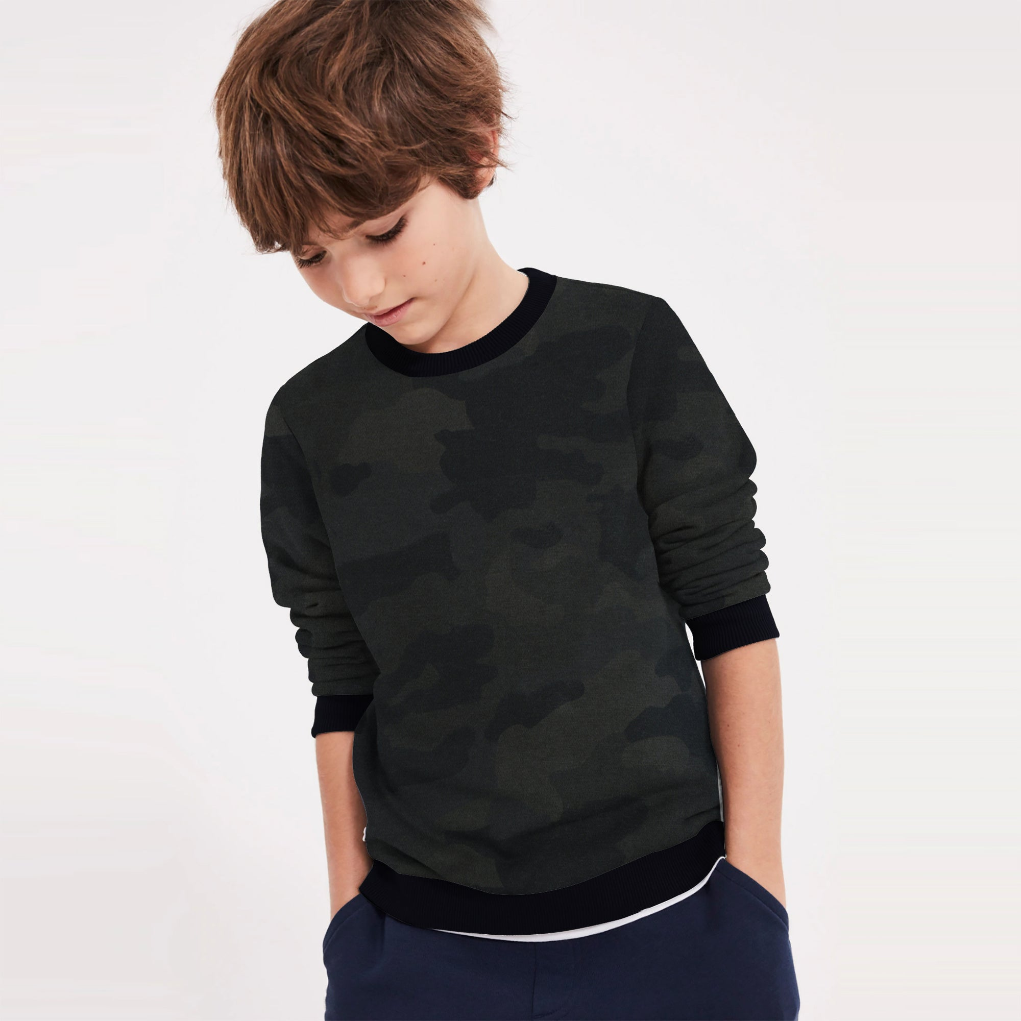 TH Terry Fleece Crew Neck Sweatshirt For Kids-Allover Print-SP774