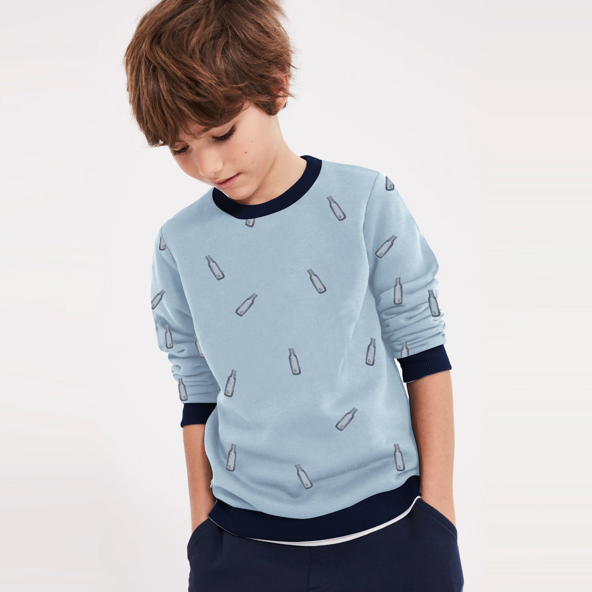 Tommy Hilfiger Fleece Crew Neck Sweatshirt For Kids-Cyan & Dark Navy-SP1372